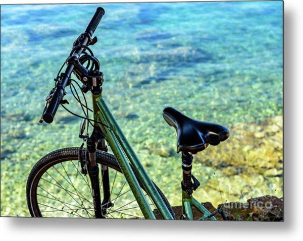 Bicycle By The Adriatic, Rovinj, Istria, Croatia Metal Print