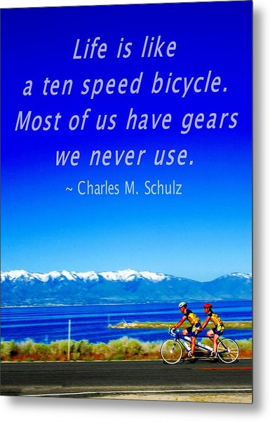 Bicycle Charles M Schulz Quote Metal Print
