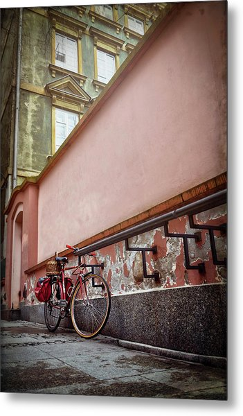 Bicycle On A Quiet Street In Warsaw Poland  Metal Print