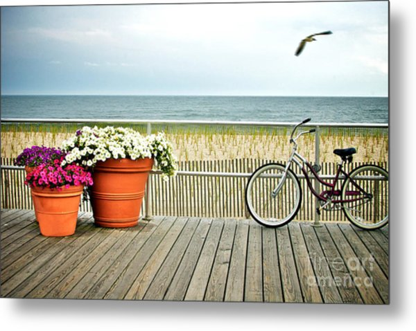 Bicycle On The Ocean City New Jersey Boardwalk. Metal Print by Melissa Ross