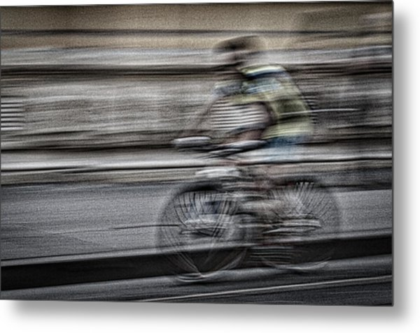 Bicycle Rider Abstract Metal Print