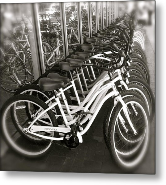 Bicycles In Belmont Shore Metal Print