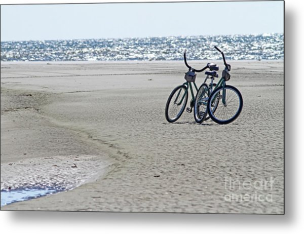 Bicycles On The Beach Metal Print