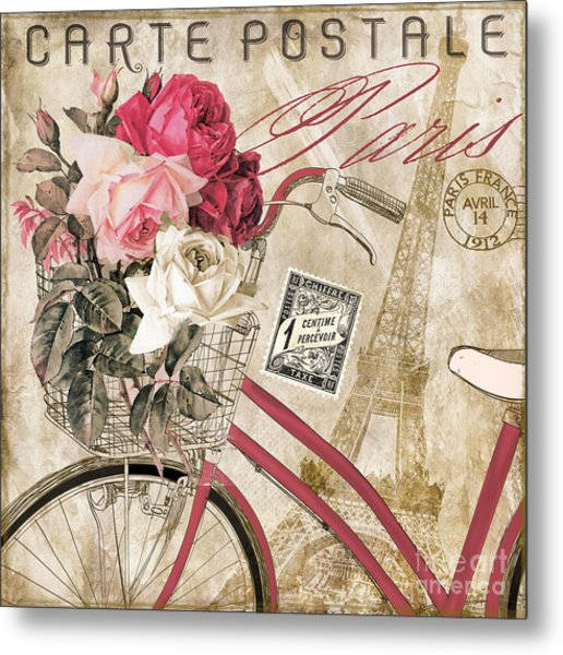 Bicycling In Paris I Metal Print