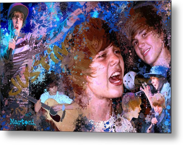 Bieber Fever Tribute To Justin Bieber Metal Print by Alex Martoni