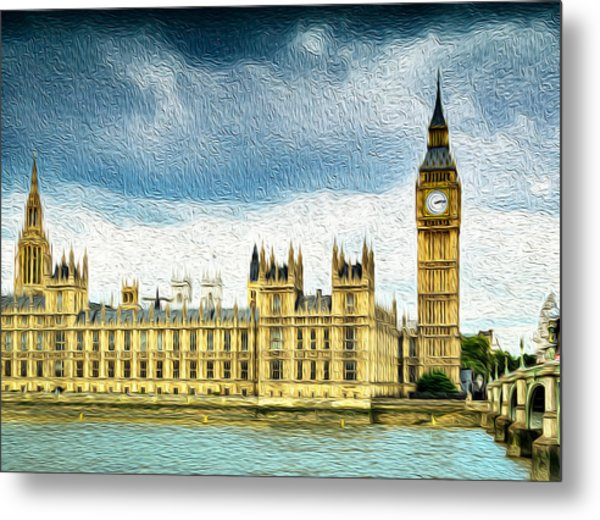 Big Ben And Houses Of Parliament With Thames River Metal Print