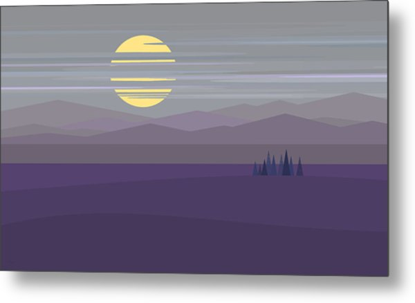 Big Moon At Twilight Metal Print by Val Arie