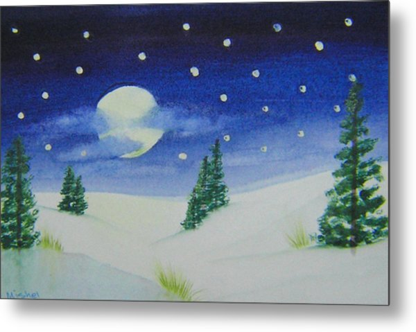 Big Moon Christmas Metal Print