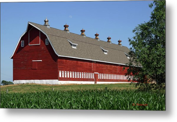 Big Red Barn In Spring Metal Print