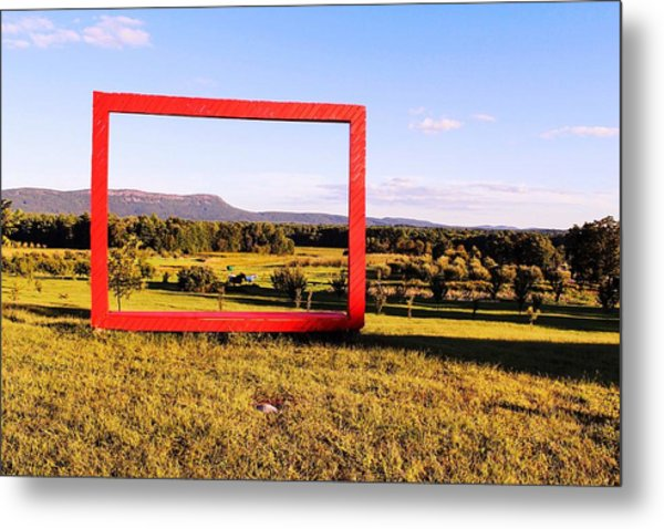 Big Red Frame Easthampton Metal Print