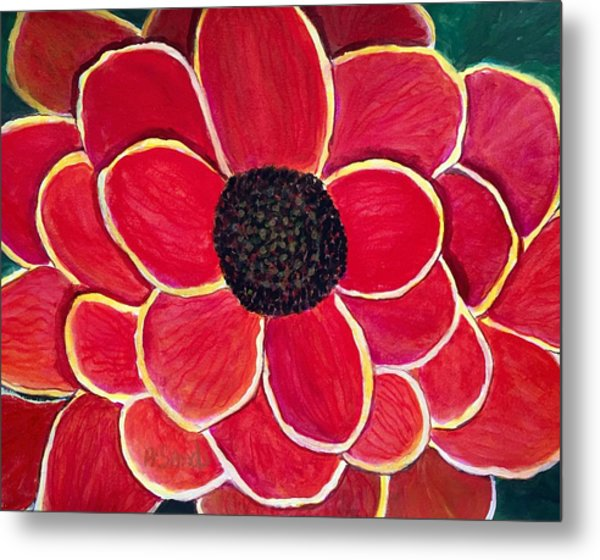 Big Red Zinnia Flower Metal Print