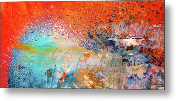 Big Shot - Orange And Blue Colorful Happy Abstract Art Painting Metal Print