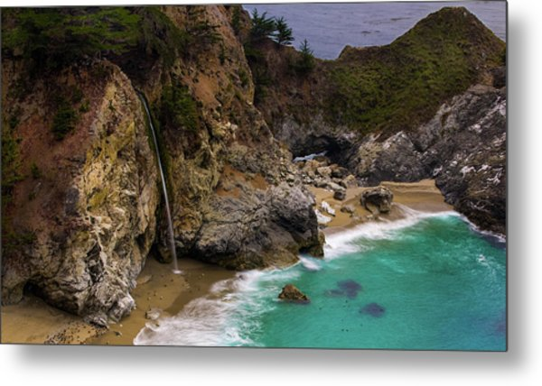 Big Sur Waterfall Metal Print