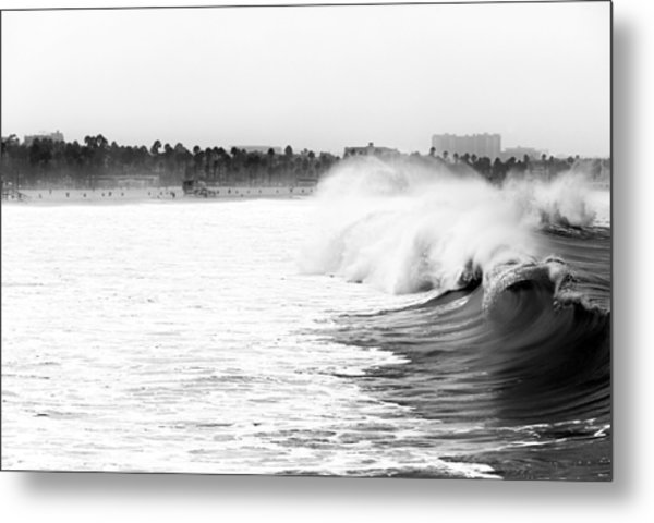 Big Surf At Santa Monica Metal Print by John Rizzuto