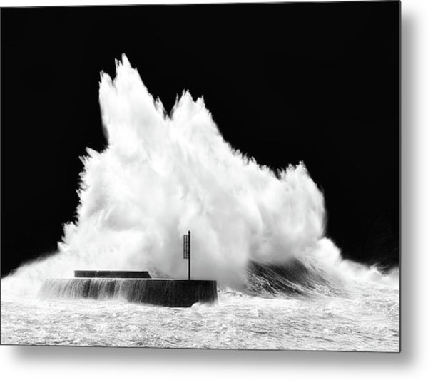 Big Wave Breaking On Breakwater Metal Print