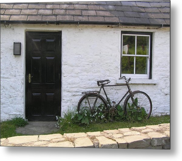 Bike And Irish Cottage Metal Print