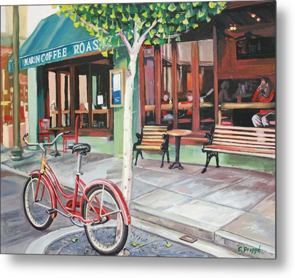 Bike At The Coffee Shop Metal Print by Colleen Proppe