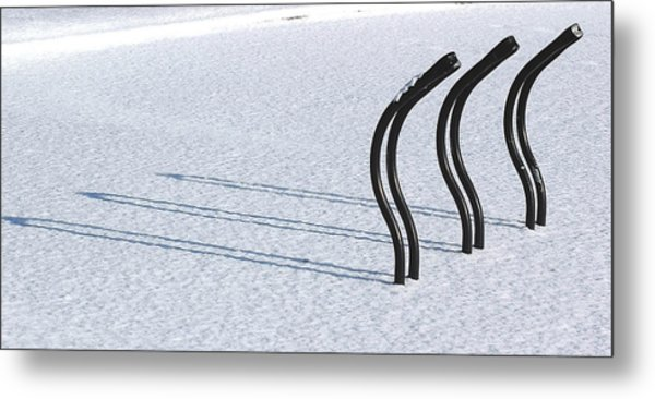 Bike Racks In Snow Metal Print