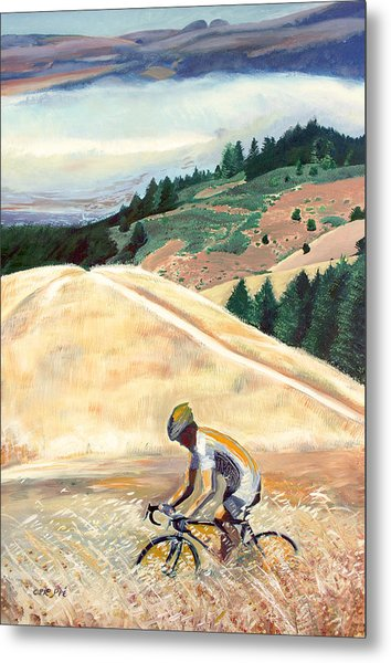 Bike Ride Above Bolinas Fog Metal Print by Colleen Proppe