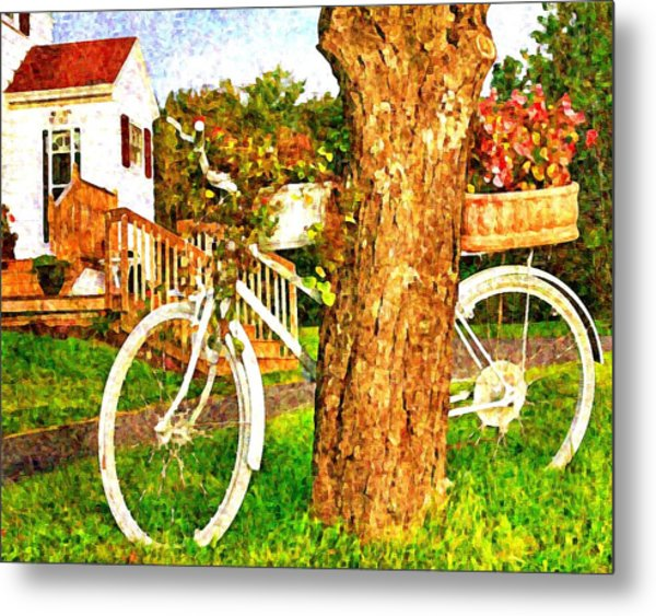 Bike With Flowers Metal Print