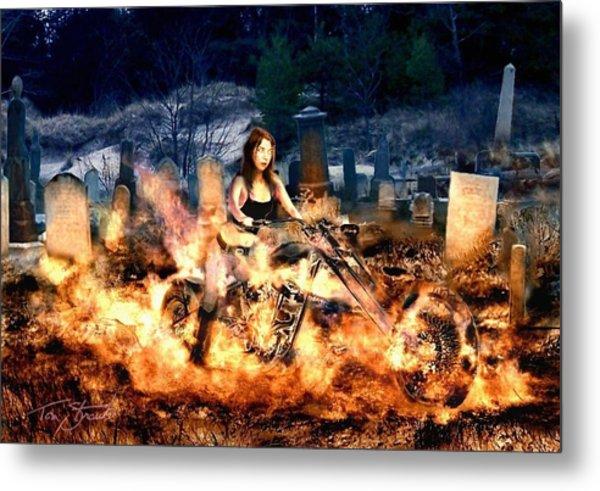 Biker Chick Metal Print by Tom Straub