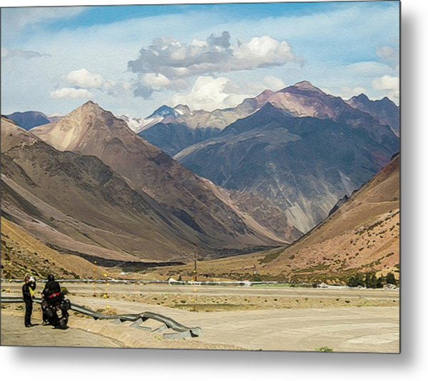Bikers And The Andes Mountains Metal Print