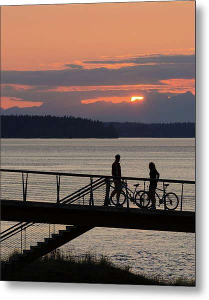 Bikers At Sunset Metal Print