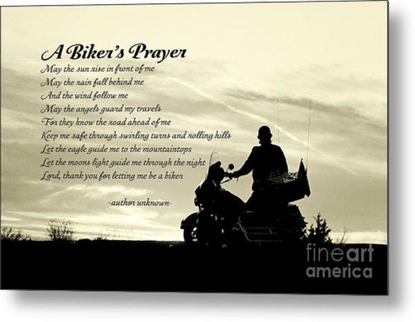 Biker's Prayer Metal Print