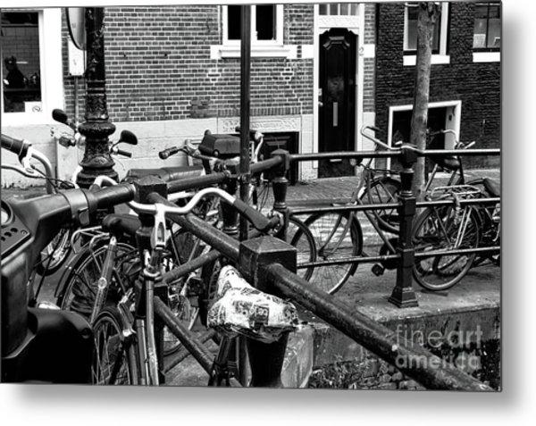 Bikes Hanging Out Mono Metal Print by John Rizzuto