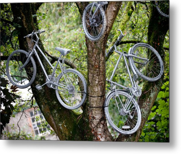 Bikes In A Tree Metal Print