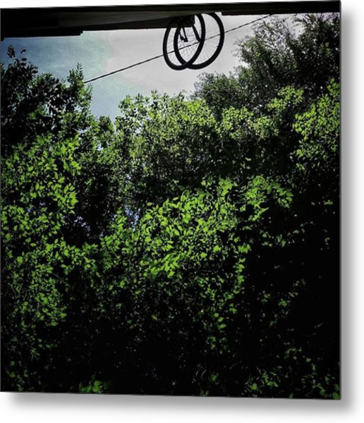 Bikes In Love #bicycle #bike #trees Metal Print