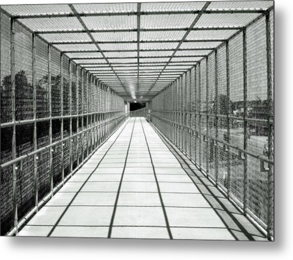 Biking Bridge Metal Print