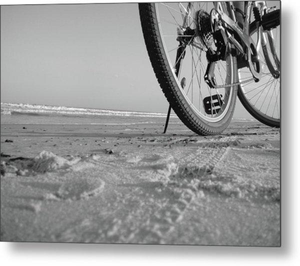 Biking To The Beach Metal Print
