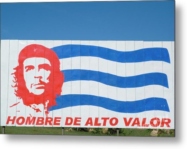 Billboard With The Iconic Che Guevara Portrait And National Cuban Flag Metal Print by Sami Sarkis