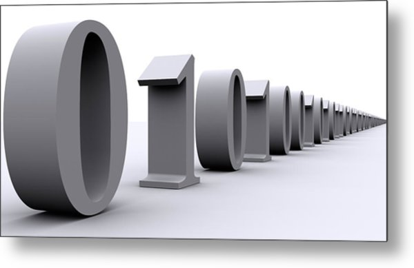 Binary Digits In A Row Metal Print