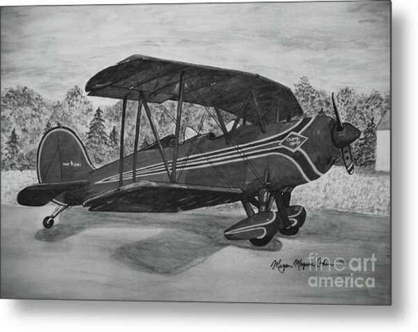 Biplane In Black And White Metal Print