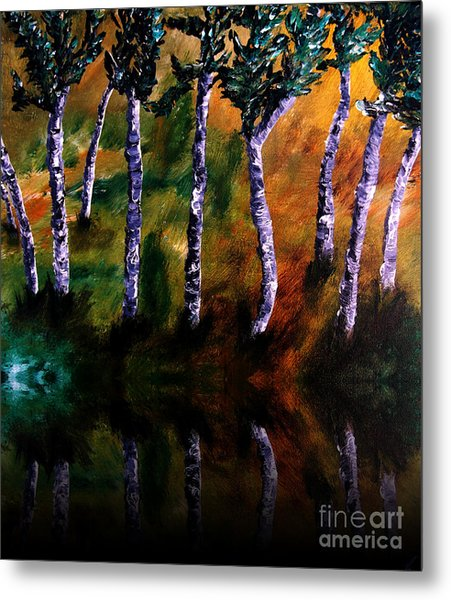 Birch Forest Reflections Metal Print
