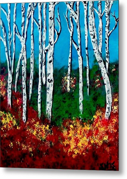 Metal Print featuring the painting Birch Woods by Sonya Nancy Capling-Bacle