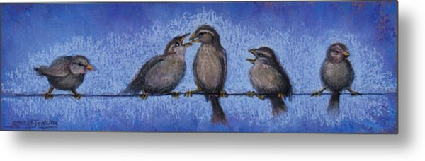 Bird Babies On A Wire Metal Print