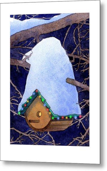 Bird House Christmas Metal Print