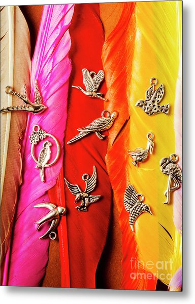 Bird Icons And Rainbow Feathers Metal Print