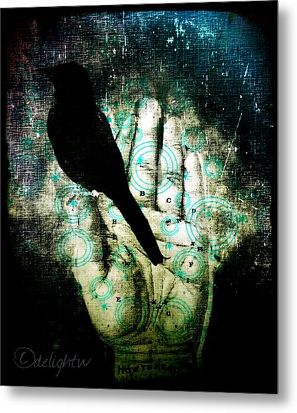 Metal Print featuring the digital art Bird In Hand by Delight Worthyn