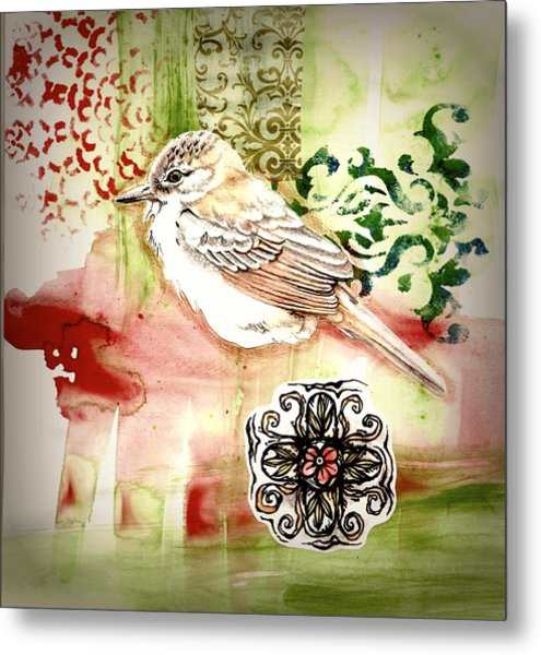Metal Print featuring the mixed media Bird Love by Rose Legge