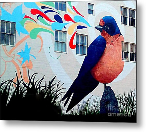 San Francisco Blue Bird Painting Mural In California Metal Print