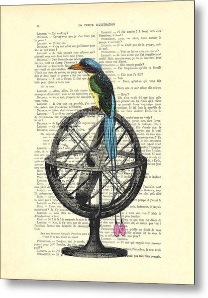 Colorful Bird Of Paradise Sitting On Globe Metal Print