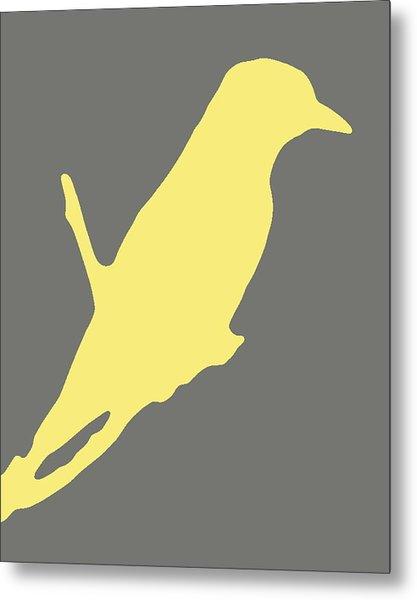 Bird Silhouette Gray Yellow Metal Print