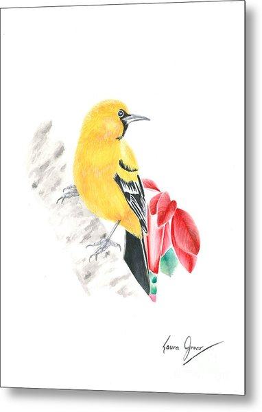 Bird In Yellow Metal Print