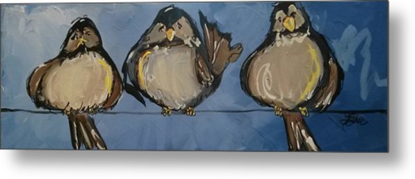 Birdies On A Wire Metal Print