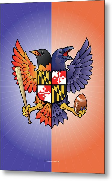 Birdland Baltimore Raven And Oriole Maryland Crest Metal Print