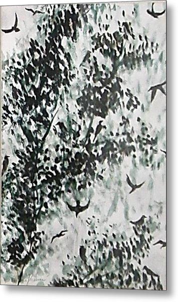 Birds At Sundown II Metal Print by Caroline  Urbania Naeem